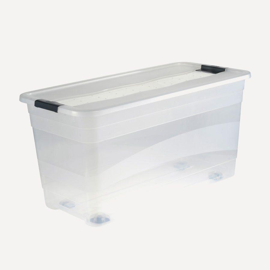 Evi daha düzenli hale getirmeye yardımcı tekerlekli saklama kutusu.