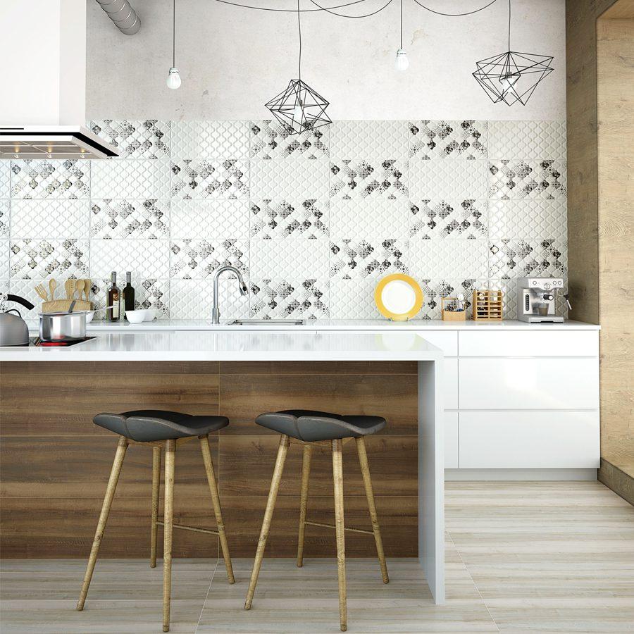 Mutfakta beyaz seramik kullanımı.