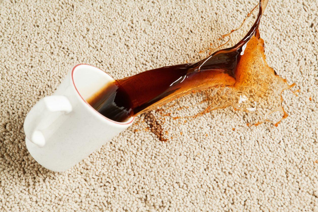 Halıya dökülen kahve