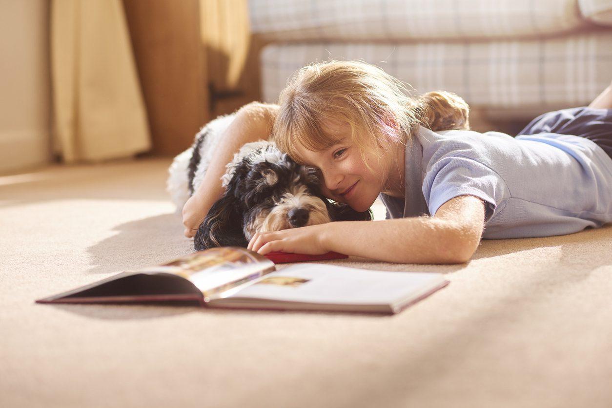 Köpek ile oyun oynayan çocuk