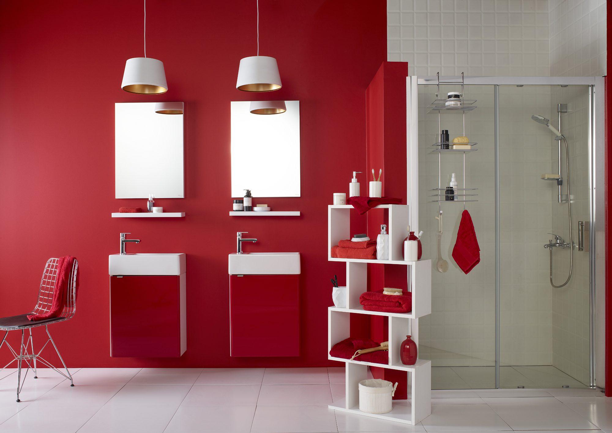 modern kırmızı banyo