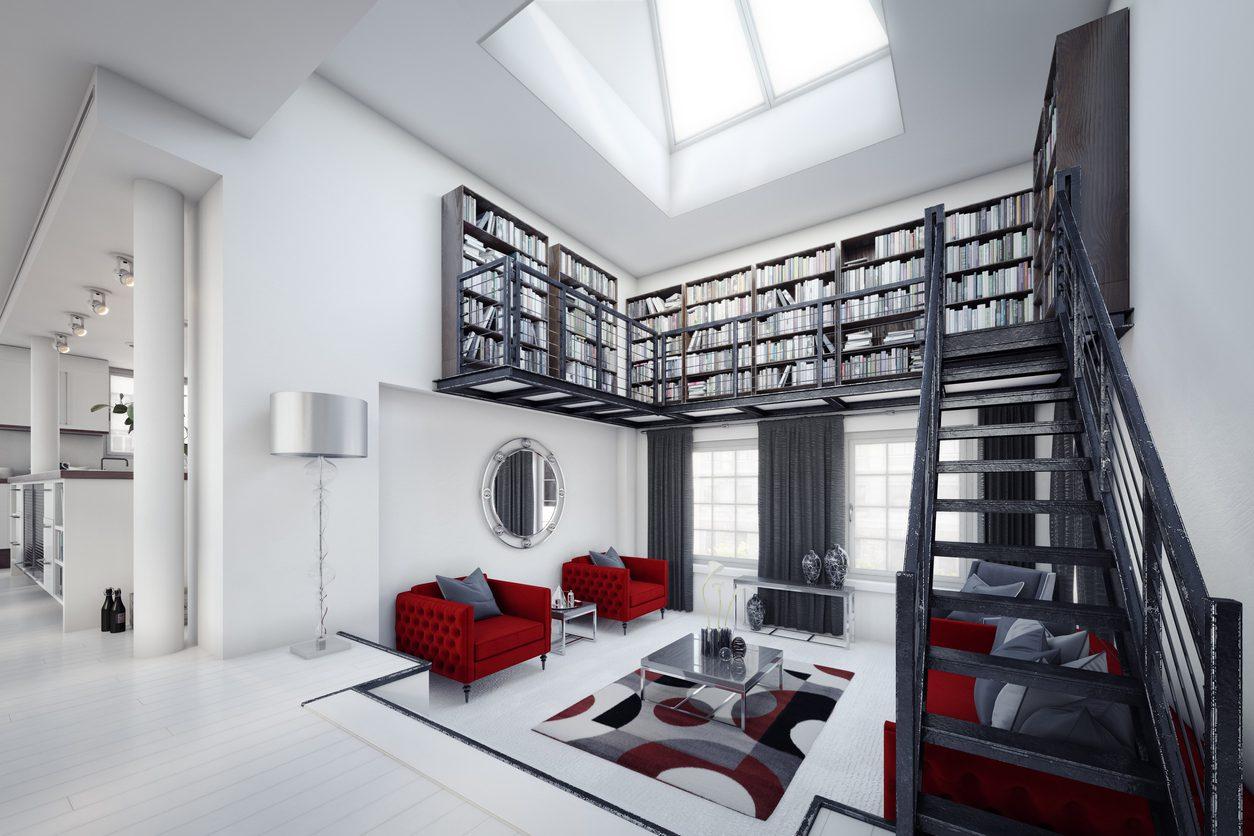 salonda kitaplık